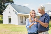 Cheerful senior couple standing outside their new house with keys. Retired man giving new house keys poster