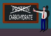 man with carbohydrate-protein concept