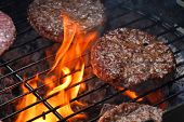 Meat Burgers For Hamburger Grilled On Flame Grill poster