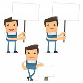foto of pipefitter  - set of funny cartoon office worker in various poses for use in presentations - JPG