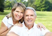 pic of elderly couple  - Smiling happy  elderly couple in summer park - JPG
