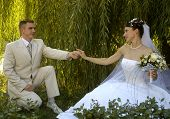 stock photo of wedding couple  - wedding couple in romantic style - JPG