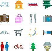 Tourist Locations Icon Set  poster