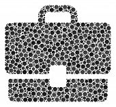Case Collage Of Round Dots In Different Sizes And Color Hues. Filled Circles Are Composed Into Case  poster