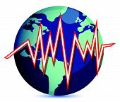 globe and earth quake lines illustration