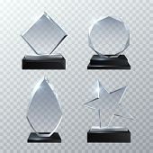 Clear Glass Trophy Awards Isolated On Transparent Background Vector Set. Glossy Board And Clear Pane poster