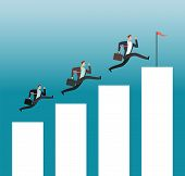 Team Reaching Goal. Successful People Running On Growing Chart Bars. Business Achievement Vector Con poster