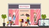 Boutique At Shopping Mall. People Buying Clothes. poster
