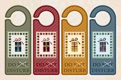 Vintage style 'Do Not Disturb' door hangers. Christmas concept with 'not' crossed out inviting Santa to enter. EPS10 vector format.