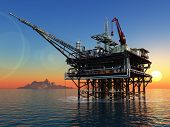 image of oil drilling rig  - Station for oil in the sea - JPG