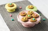 Easter Cute Mini Eggs Cookies. Homemade Peanut Butter Cookies Desserts With A Easter Holiday Twist!  poster