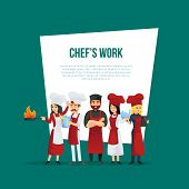 Professional Restaurant Kitchen Personal Concept. Cute Young Chef Team In Red Cooking Uniform And Ha poster