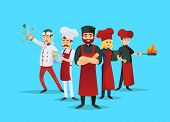 Professional Chef Teaching Concept With Cook Characters. Cute Chef Team In Red Cooking Uniform And H poster