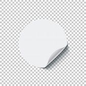 Round White Blank Sticker With Curled Edge Isolated On Transparent Background. Vector Design Element poster