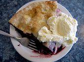 Slice of Berry Pie with Ice Cream