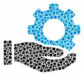 Mechanic Gear Service Hand Mosaic Of Dots In Various Sizes And Color Hues. Filled Circles Are Combin poster