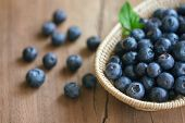 Fresh Wild Blueberries In Wooden Basket Put On Wood Table With Copy Space For Background, Selective  poster