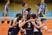 KAPOSVAR, HUNGARY - APRIL 24: Ujbuda players celebrate at the Hungarian NB I. League woman volleybal