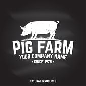 Pig Farm Badge Or Label On The Chalkboard. Vector. Vintage Typography Design With Pig Silhouette. El poster