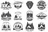 Set Of Summer Camp Badges. Vector. Concept For Shirt Or Logo, Print, Stamp Or Tee. Vintage Typograph poster