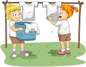 Illustration of Kids Hanging Clothes to Dry