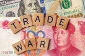 Trade War Between Usa And China Concept/ Tariff Law Trade War Written Over 100 Usa Dollar And 100 Ch poster