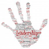 Conceptual business leadership strategy, management value hand print stamp word cloud isolated backg poster