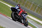 SEPANG, MALAYSIA - FEBRUARY 2: MotoGP rider Jorge Lorenzo of the Yamaha Factory Racing team practice