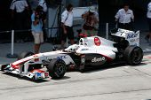 SEPANG, MALAYSIA - APRIL 8: Kamui Kobayashi of the Sauber F1 team leaves the pit for a practice run
