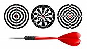Classic Dart Board Target Set And Darts Red Arrow Isolated On White Background. Vector Illustration. poster