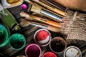 Oil Paint Brushes Close Up Color Palette Colours Color poster
