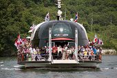 NAMISEOM - JUNE 06: Visitors arrive in Nami Island by ferry on June 06, 2011 in Chuncheon, South Kor