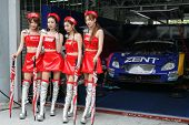 SEPANG - JUNE 19: Race queens from the team of 'Lexus Team Zent Cerumo' pose with the team car at th