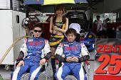 SEPANG - JUNE 19: Akihiro Tsuzuki (shades) and Takeshi Tsuchiya of Samurai Team Tsuchiya poses for f