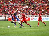 BUKIT JALIL, MALAYSIA - JULY 16: Malaysia's Amar Rohidan (12) advances after stopping a Liverpool attack in the game at the National Stadium on July 16, 2011, Bukit Jalil, Malaysia. Liverpool won 6-3.