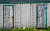 Closeup Of An Old White Fishing Shed