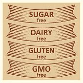 Vintage Style Gluten Free, Sugar Free, Dairy Free, Gmo Free Banners Design. Vector Illustration poster