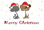 stock photo of droopy  - illustrated Christmas greeting card with pets and text - JPG