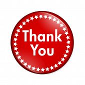 stock photo of thank you  - A red button with words thank you and stars isolated on a white background Thank You button - JPG