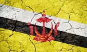 Nation Of Brunei, The Abode Of Peace Flag On Dry Earth Ground Texture Background poster