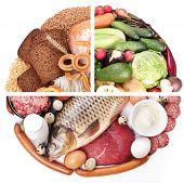 Food pyramid or diet pyramid  - diagram presents basic food groups. Organic food. poster