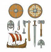 Постер, плакат: Set Viking Knife Drakkar Axe Helmet Sword Hammer Thor Amulet With Runes Vintage Vector Color
