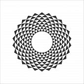 Black And White Abstract Circle Design Element With Triangle Pattern. Circle Border. Decorative Ring poster