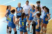 KAPOSVAR, HUNGARY - APRIL 24: Kaposvar players listening to their trainer at the Hungarian NB I. Lea