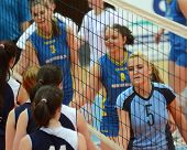 KAPOSVAR, HUNGARY - APRIL 24: Competitors shake hands after the Hungarian NB I. League woman volleyb