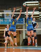 KAPOSVAR, HUNGARY - APRIL 24: Marianna Palfy (blue 11) in action at the Hungarian NB I. League woman