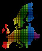 A Dotted Lgbt Pride European Union Map For Lesbians, Gays, Bisexuals, And Transgenders. Colored Vect poster
