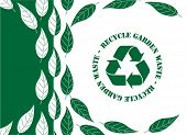 Recycle garden waste concept. Simple green and white leaf design with recycle symbol EPS10 vector fo