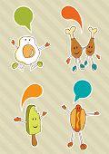 Desenhos de alimentos coloridos