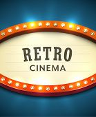 Bright Red Marquee With Light Bulbs On Dark Background. Vector Retro Electric Sign With Copyspace In poster